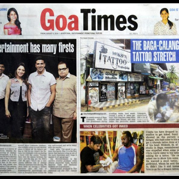 Moksha Tattoo Studio on Goa Times for Celebrities Getting Inked