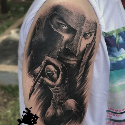 Spartan Warrior Tattoo done by Mukesh Waghela at Moksha Tattoo Studio Goa India.