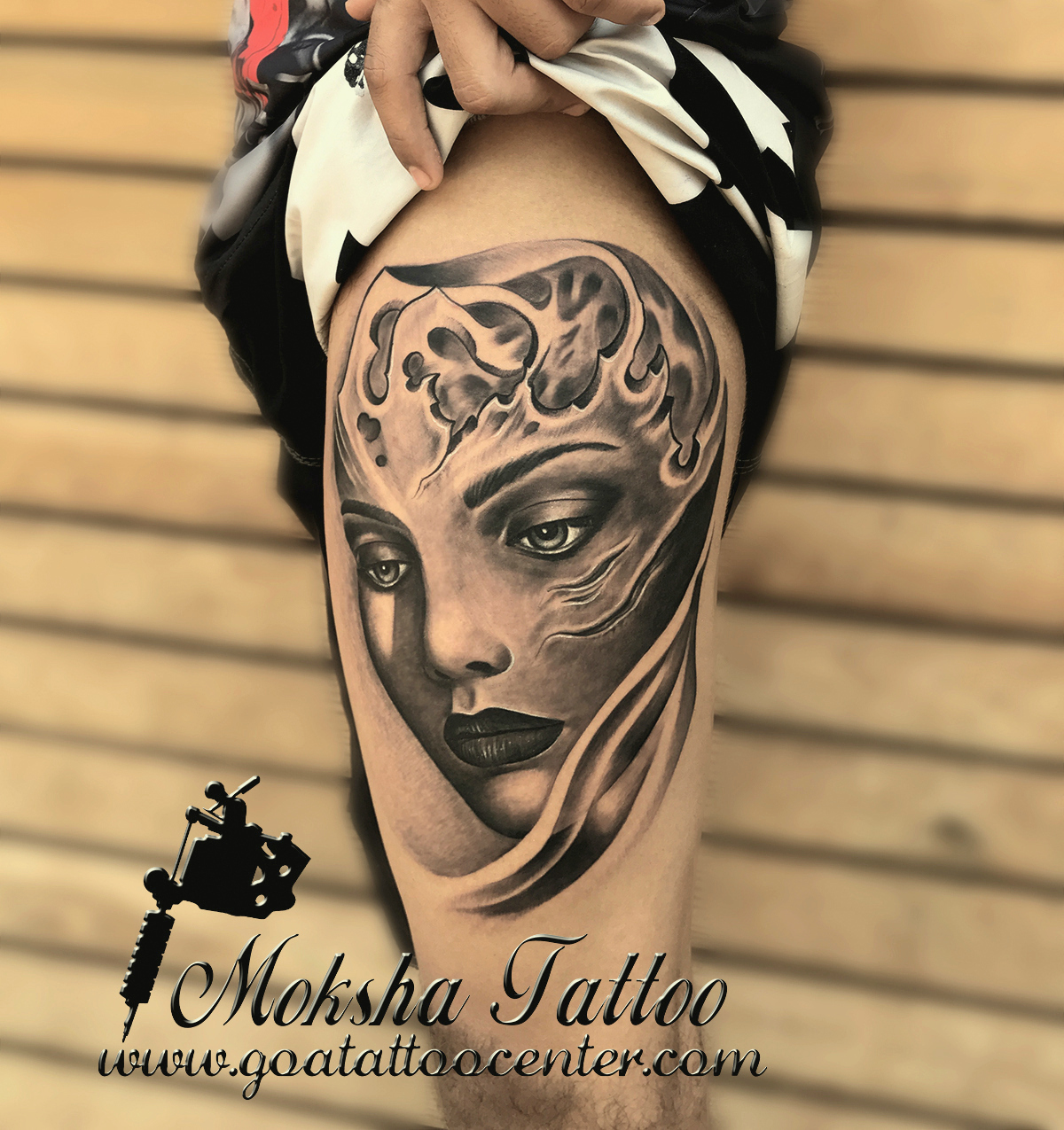 Best Tattoo Artists And Studio Of India With Safe Tattoo: Girl Face Tattoo Done By Mukesh Waghela At Moksha Tattoo