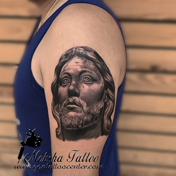 Jesus Christ Sculpture Tattoo done by Mukesh Waghela at Moksha Tattoo Studio Goa India