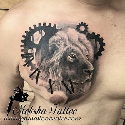Lion Tattoo done by Mukesh Waghela at Moksha Tattoo Studio Goa India.