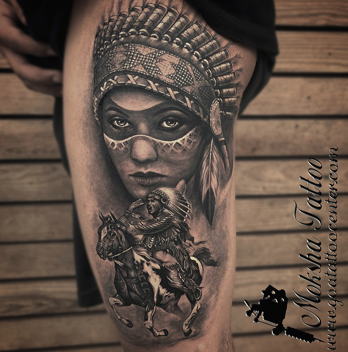 Red Indian Tattoo done by Mukesh Waghela at Moksha Tattoo Studio Goa India.