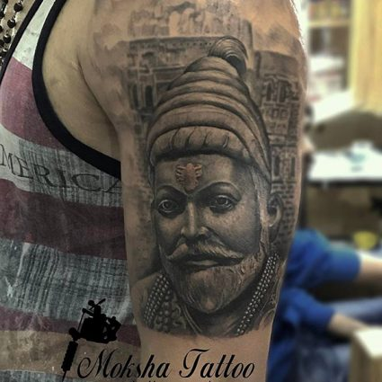 Shivaji Maharaj Tattoo done by Mukesh Waghela at Moksha Tattoo Studio Goa India.