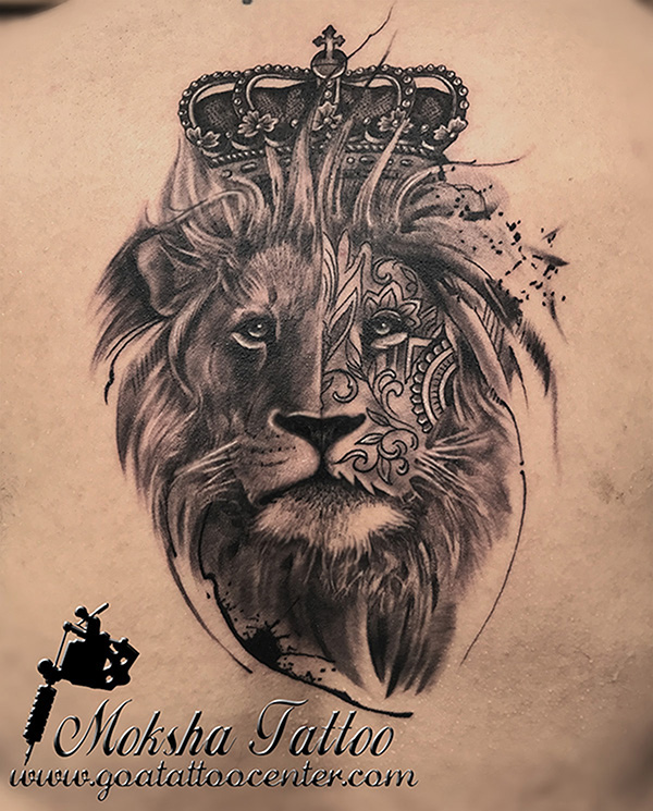Realistic King Lion Tattoo with Crown done by Mukesh ...