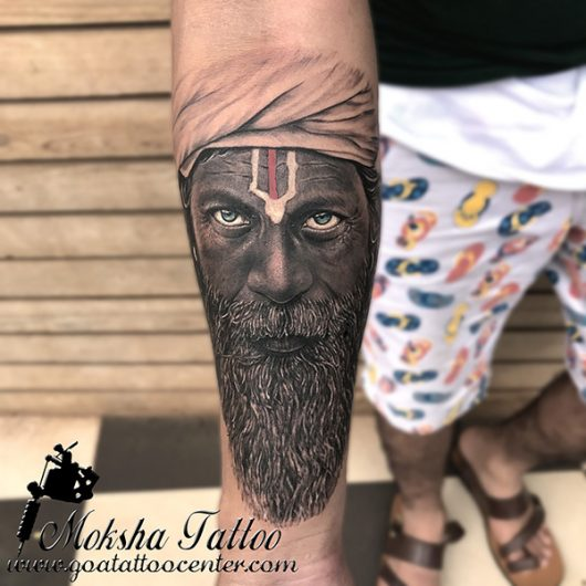 Adhori Sadhu Tattoo done by Mukesh Waghela at Moksha Tattoo Studio Goa India.