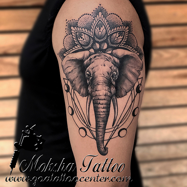Geometric Elephant Tattoo done by Mukesh Waghela at Moksha Tattoo Studio Goa India.