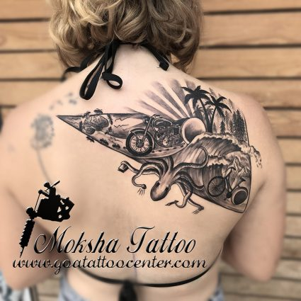 Custom Tattoo done bu Mukesh Waghela at Moksha Tattoo Studio Goa India.