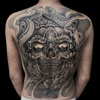 Japanese Oriental Full Back Tattoo - Done By Mukesh Waghela At Moksha Tattoo Studio Goa India.