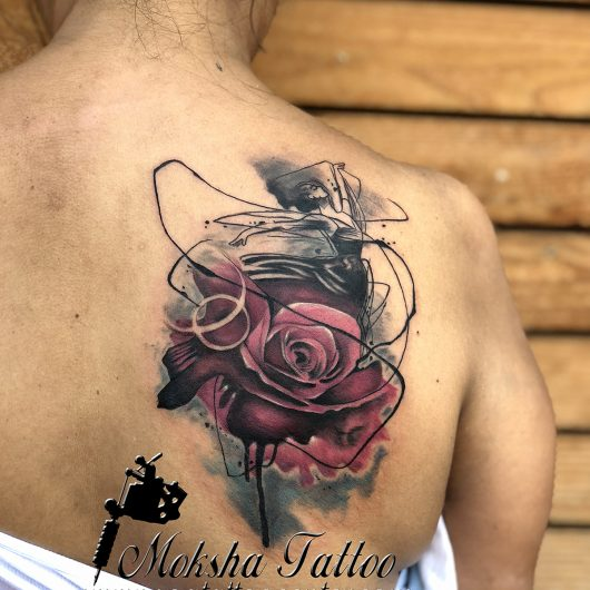 Rose With A Dancing Girl Tattoo - Done By Mukesh Waghela At Moksha Tattoo Studio Goa India