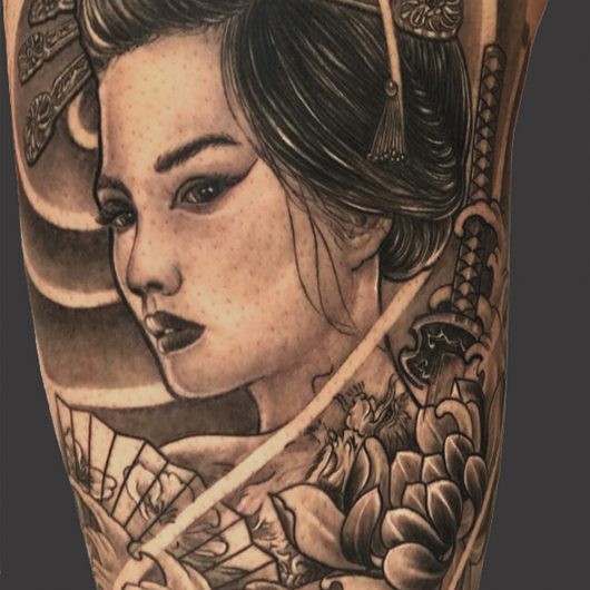 Geisha tattoo done by Mukesh Waghela at Moksha Tattoo Studio Goa India