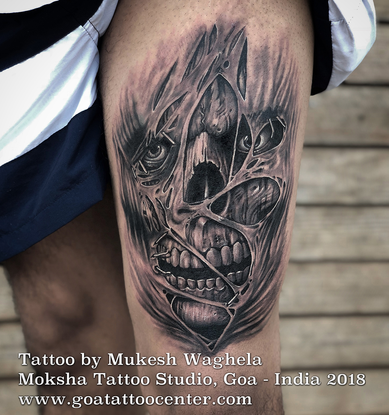28a127e82 Evil Skull Tattoo - Done By Mukesh Waghela At Moksha Tattoo Studio Goa  India.Moksha Tattoo Studio is the Professional, Hygienic and Safe Tattoo  Studio in ...
