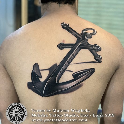 Anchor tattoo done by Mukesh Waghela at Moksha Tattoo Studio Goa India
