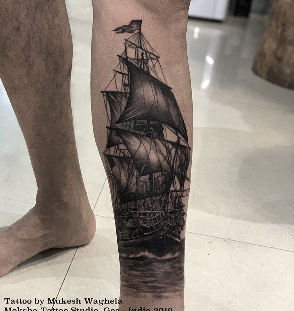 Ship tattoo done by Mukesh Waghela at Moksha Tattoo Studio Goa India