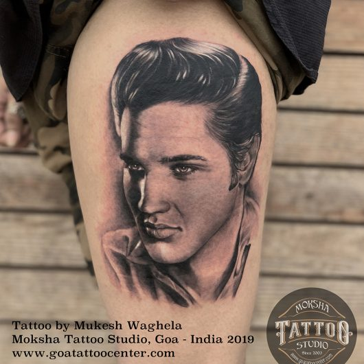 Elvis Presley Portrait tattoo done by Mukesh Waghela at Moksha Tattoo Studio Goa India