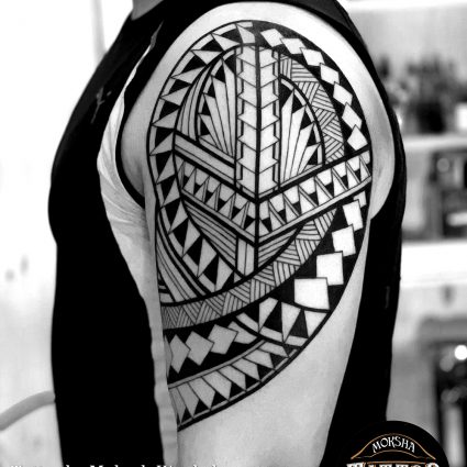 Polynesian tattoo done by Mukesh Waghela at Moksha Tattoo Studio Goa India