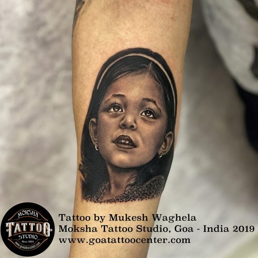 Portrait tattoo done by Mukesh Waghela at Moksha Tattoo Studio Goa India