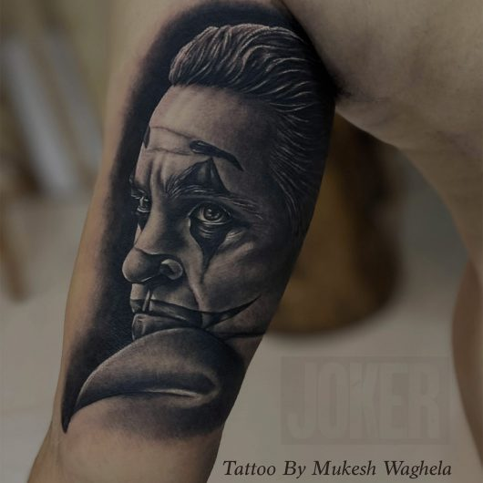 Joker Tattoo done by Mukesh Waghela at Moksha Tattoo Studio Goa India